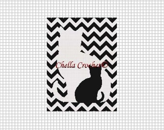 INSTANT DOWNLOAD Chella Crochet Cat and Kitten Silhouette on Chevron Zig Zag Afghan Crochet Pattern Graph Chart .PDF
