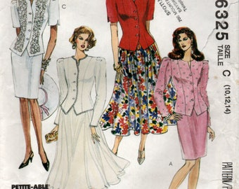 1993 Sewing pattern Unlined Jacket and Skirts 3 sizes McCalls 6325