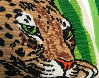 vintage needlepoint jaguar throw  pillow cushion cover big cat jungle  throw home decor rare safari leopard cheetah big cat