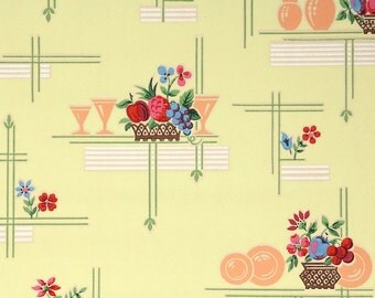 1930s Vintage Wallpaper by the Yard - Kitchen Wallpaper with Fruit and Dishes on Yellow