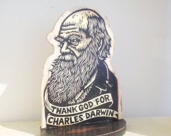 Darwin Bookend, Charles Darwin Shelf Art, Sculpture, Linocut Print on Wood Bookend