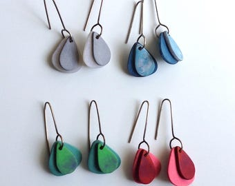 Tear drop earrings, bright colors, summer fashion
