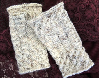 Hand Knit Ivory Heather Wool Blend Mitts or Fingerless Gloves