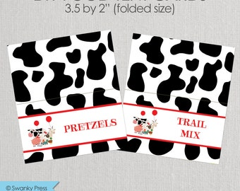 Party Animals - Farm and Barn Animal Party - Food Labels - Printable DIY with fully editable text