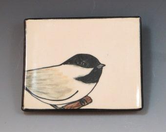 Handbuilt Ceramic Soap Dish with Bird - Chickadee