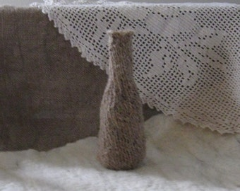 Knitted Jute Vase/Bottle/Rustic/New for Spring/ Ready to Ship