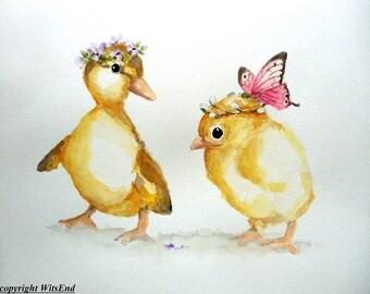 Chick Duck watercolor painting original baby bird Nursery farm animal art 12 x 12