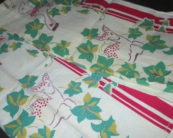 Vintage 40s Deer Lambs Pigs and Vines Leaves Dish Kitchen Linen Tea Towel Set of Two