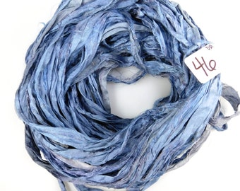 Sari Silk Ribbon, Recycled Silk Sari Ribbon, blue sari ribbon, Denim Sari ribbon, jewelry supply, weaving supply, knitting supply