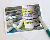 Note Card, Greeting Card, Get Well Soon Card, Humorous, Funny Notecard, Rx, Comical, Doctor, Pharmacist - Laughter is the Best Medicine
