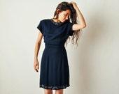 Vintage 40s Beaded Navy Dress