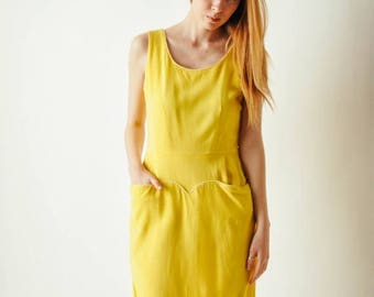 ON SALE Vintage Yellow Day Dress