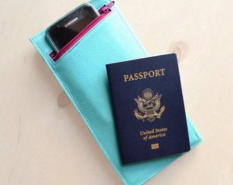 Womens Travel Wallet, Passport Holder, Leather Travel Organizer, Girlfriend Gift - The Stella Travel Wallet Clutch in Light Turquoise
