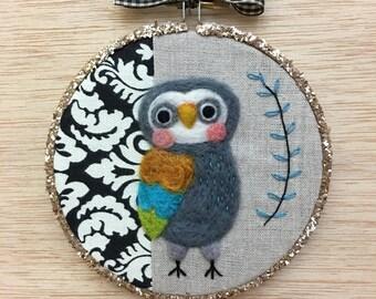 Chestnut-Winged Art Owl Needle Felted Embroidery Hoop Art by Val's Art Studio, original unique fiber art, owl art, Bird Lover Art