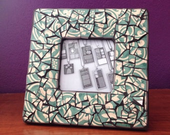 Green Mosaic Picture Frame, Small Square Photo Frame, Beige and Green Picture Frame, Photo Display Frame, Green Home Decor, Mosaic Decor