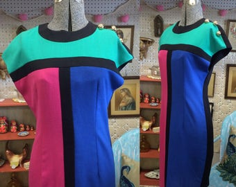 Awesome 1980s Vintage 80's color block dress