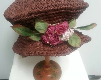 Vintage Collapsible Packable Straw or Raffia Hat Mocha Brown Purple