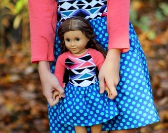 SAMPLE SALE - Size 7 Matching Girl and Doll Clothes - Fits American Girl Doll - Cobalt Ta Dot Twirl Skirts