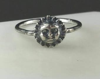 Silver SUN Ring, Sun Pinky Ring, Oxidized Ring, Stacking Ring, Size 4 Ring, Sterling Silver Sun Shine Ring  by Maggie McMane Designs
