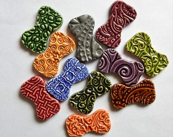 little dog bones...colorful embossed mosaic tiles