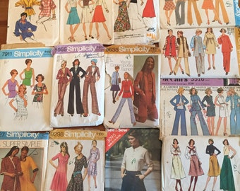Lot of Patterns Vintage 1970s patterns Dresses Blouses Pants Bust sizes 34-36