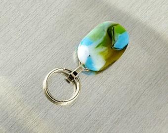 Magnetic ID Holder / Magnetic Eyeglass Holder Handmade with Blue Lampwork Glass, Magnetic Lanyard Badge Holder, lanyard id badge