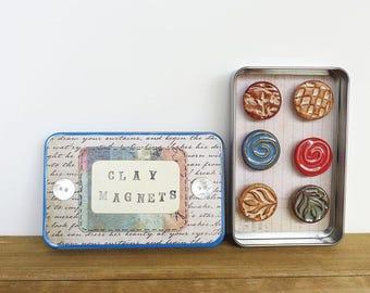 Rustic Clay Fridge Magnet Set of 6, Ceramic Magnet Set, Hostess Gift, Office Decor