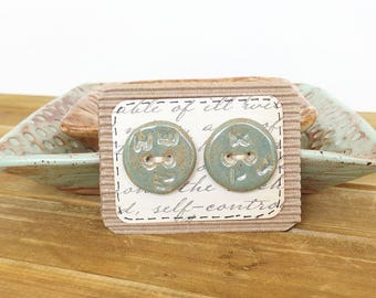 Stoneware Ceramic Buttons - Sage Green Glaze on White Clay - Random Text - Set of 2