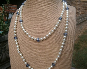 Pearl & Faceted Blue Crystal Double Strand Necklace; Palm Beach Estate