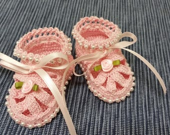 Christening Baby Shoes, Christening Crochet Booties Pink Rose Flowers and Pearls Newborn Girl Reborn