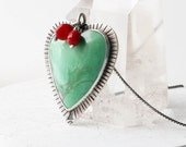 Big Love Necklace - Variscite Stone Heart Necklace
