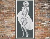 Custom Marilyn Monroe Full Length Cross Stitch or Needlepoint Pattern