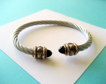 Sterling Silver and 14kt Gold Emerald Cable Bracelet
