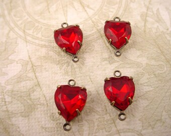 4 vintage glass siam ruby red  heart antique brass ox  Prong connectors Settings 2 Ring close Backs charms 10mm