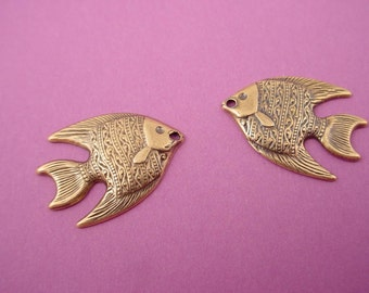 6 brass  ox antique brass  fish charms with hole 20mm left and right 3 pairs