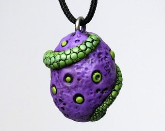 HalfOffSale Super SALE! Dragon Egg Necklace, Polymer clay Dragon Tail