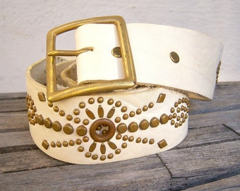 Boho distressed leather belt / Ivory leather, brass studded hippie belt / solid brass buckle 32-36 inches, medium