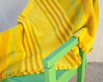 40% MOVING SALE RARE L.F. Foght afghan / 60s Danish Modern throw blanket / Scandinavian wool blanket / gold yellow lime stripes / 48x76 Gorg