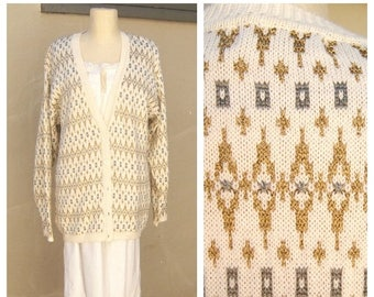40% MOVING SALE 90s icicle snowflake cardigan / gold silver metalic / Liz Claiborne slouchy sweater / holiday ivory sparkly womens medium la