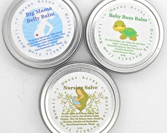 Expecting Mom Gift Set - Big Mama Belly Balm, Nursing Salve, and Baby Bum Salve, New Mom Gift Set, Newborn, Diapering, Nursing, Belly Bump