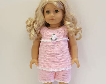 """Instant Download - 18"""" Doll Pattern 5 - Pretty Pyjama - Top and Shorts"""