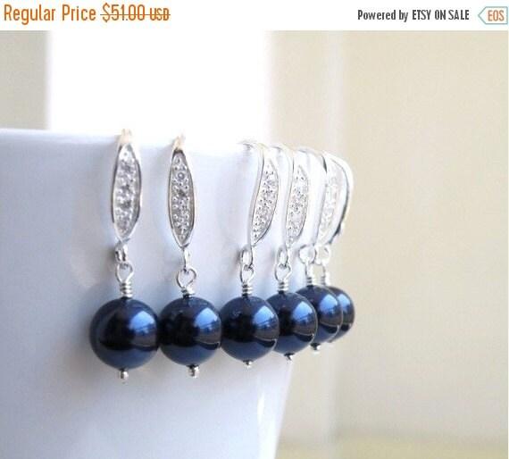 Black Friday Sale Swarovski CZ Earrings Navy Blue Pearl Sterling Dangle 3 pairs