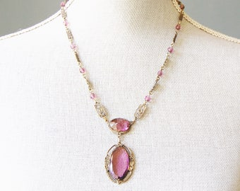 Vintage 1920s Purple Glass Necklace Edwardian Silver Plated Brass As Is Antique
