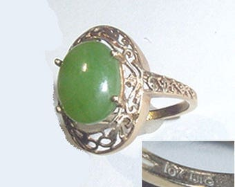 Antique Jade Ring 10Kt Yellow Gold-Beautiful Open Work Design - Great Condition