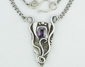 Unwrapped Fine Silver and Amethyst cz Pendant on Sterling Silver Chain