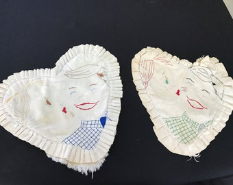 Pair of Vintage Muslin Heart Shaped Pillow Tops with Ruffles and Hand Embroidery