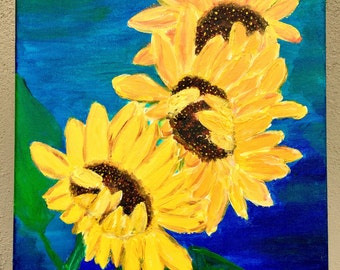 Acrylic painting of sunflowers on canvas