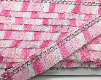 3 to 6 yards  Multicolor Fringe  with Metallic Glitter Silver Braid Tassel Trim 2.4 cm - Choose your own yards -  Shades of Pink Tone