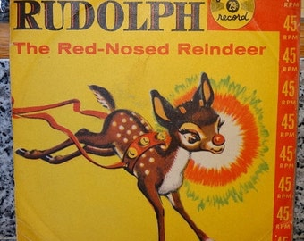 1959 Rudolph The Red-Nosed Reindeer 45 Record, Golden Record, Mid Century Childrens Christmas Music, Vinyl Record, Holiday Music, Deer, Doe