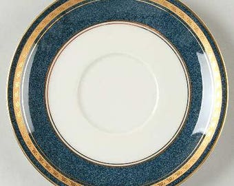 Vintage Mikasa, Imperial Lapis by Mikasa, Pattern Number: L2826, Elegant China, Fine Porcelain Saucer, Regal Gold & Blue